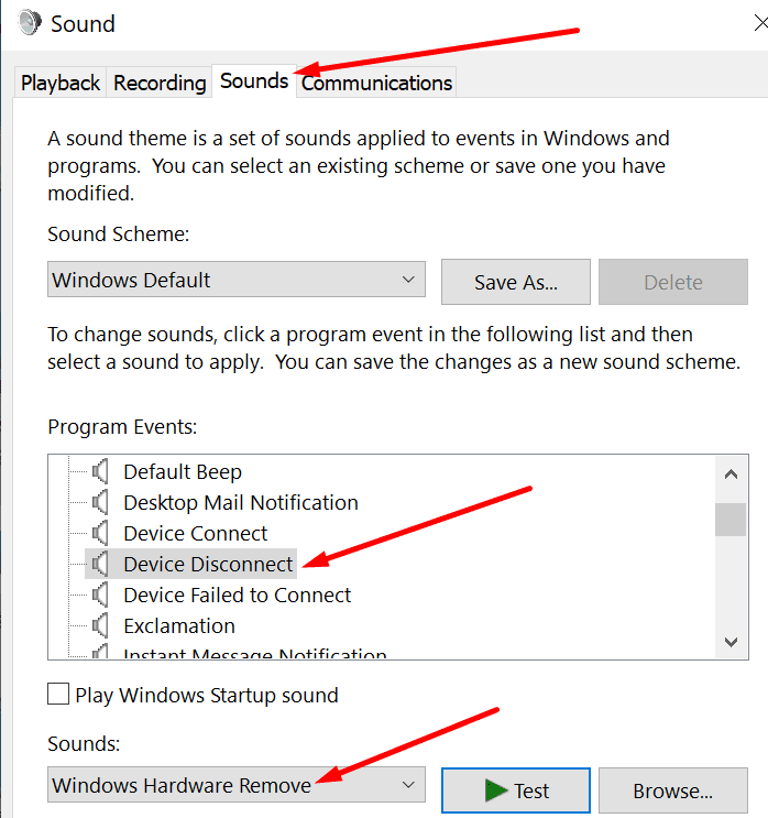 Windows 10 Fix Device Disconnect Sounds Technipages