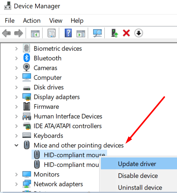 device manager mice and other pointing devices