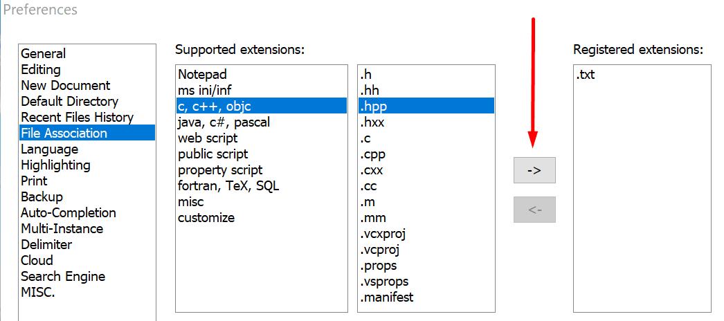 file association notepad++ settings