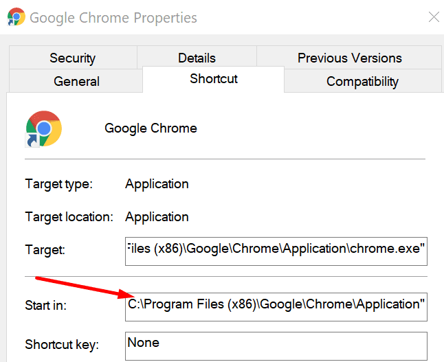 google chrome start in path