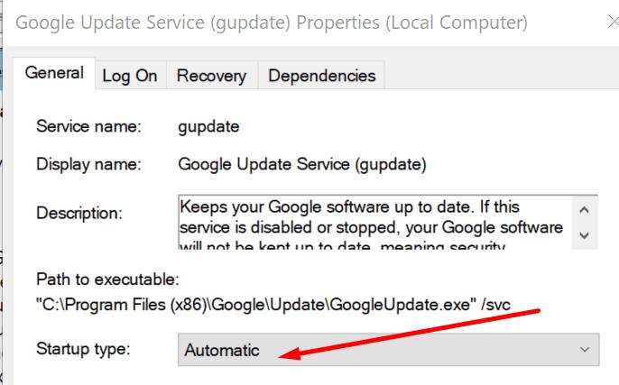 google update service automatic startup
