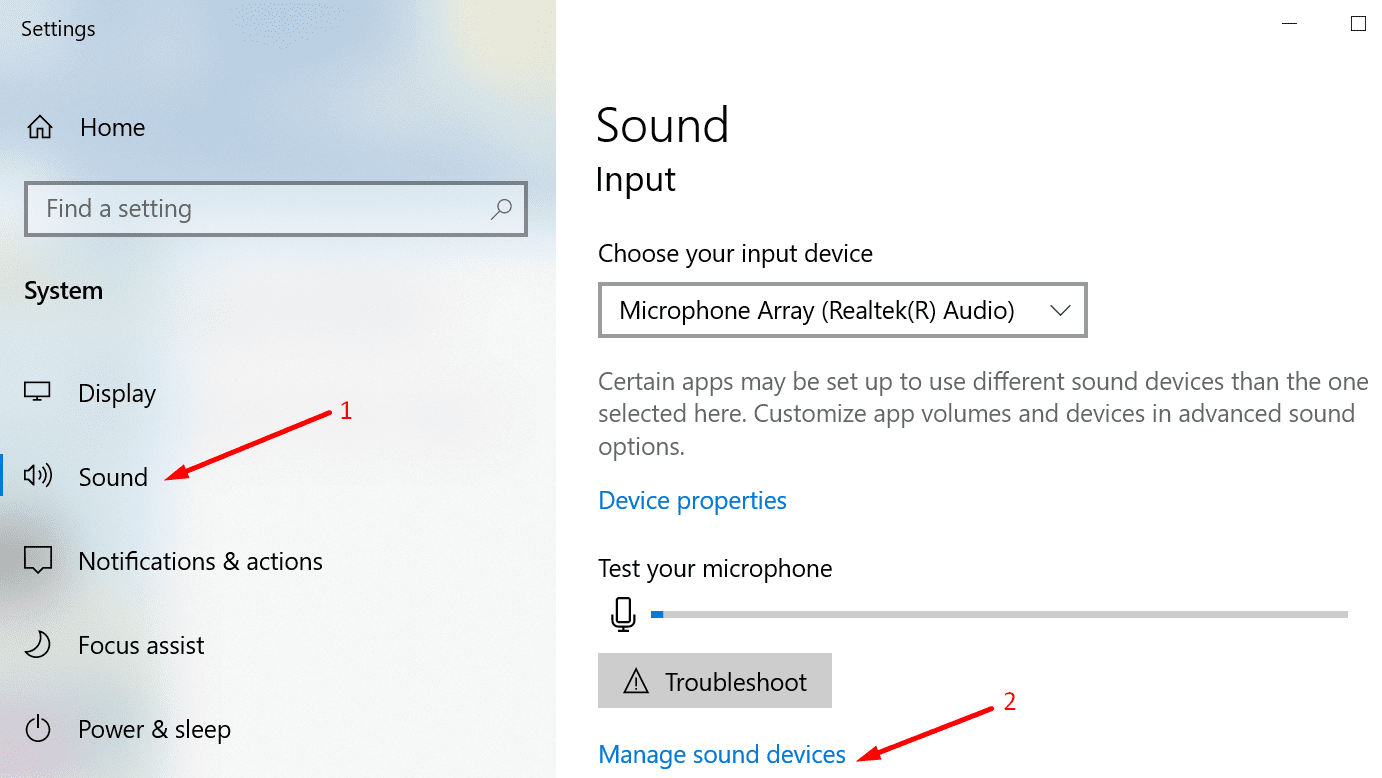manage sound devices windows 10