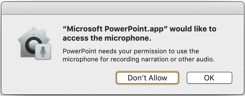 microsoft powerpoint wants to access microphone macbook