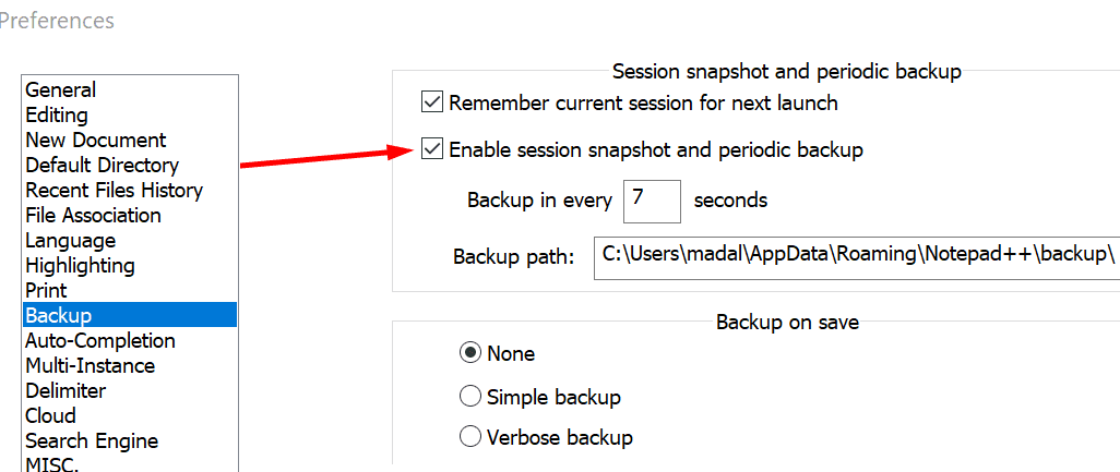 notepad++ Session snapshot and periodic backup