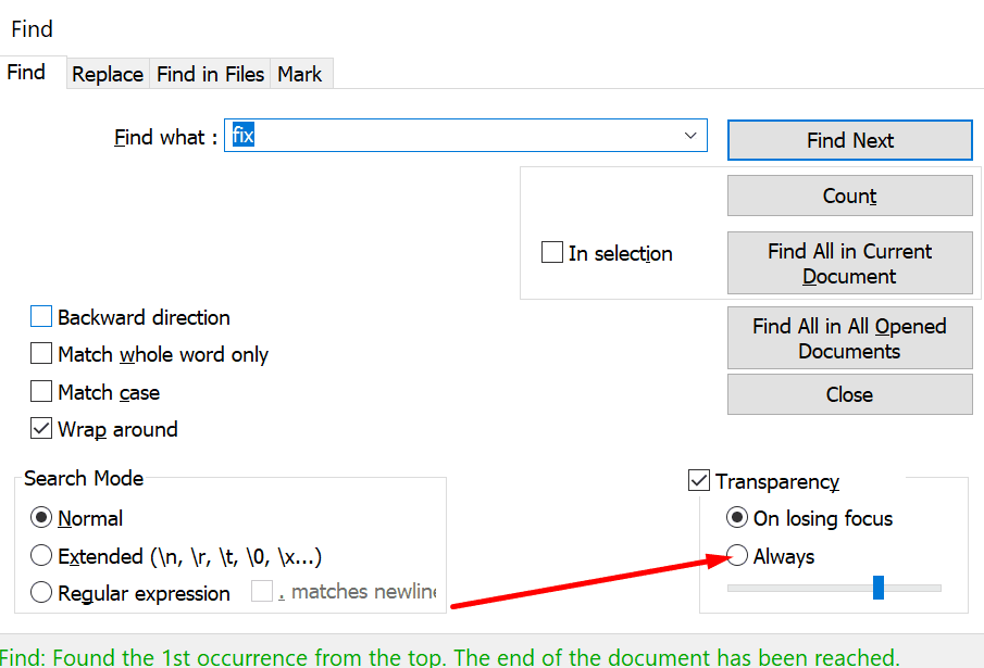 notepad++ transparency settings