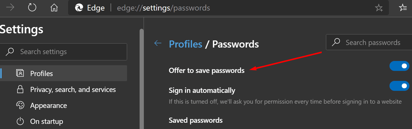 offer to save passwords Edge browser
