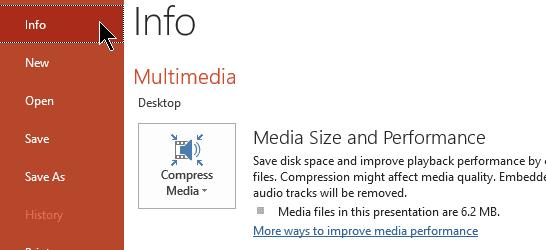 powerpoint compress media