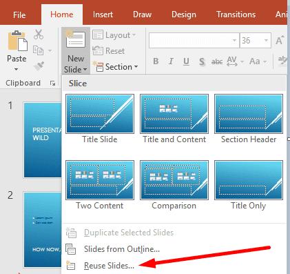powerpoint reuse slides