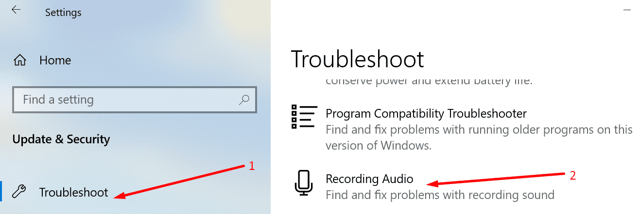run recording audio troubleshooter windows 10
