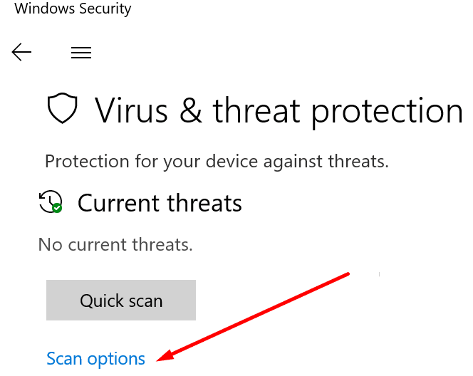 scan options virus and threat protection