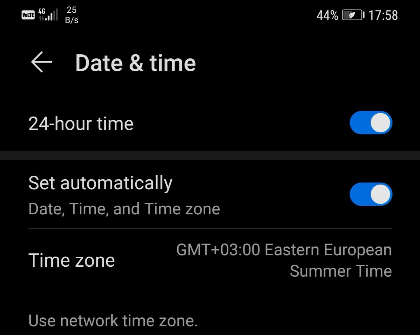 set time automatically android