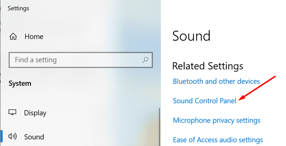 sound control panel windows 10