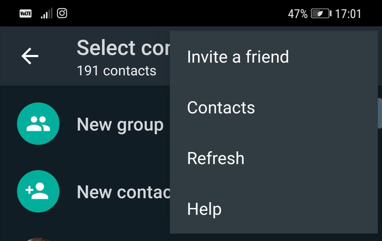 whatsapp refresh new chat