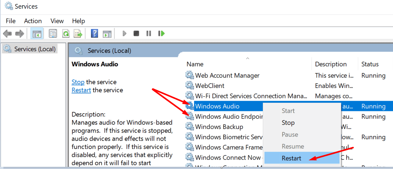 restart windows audio services