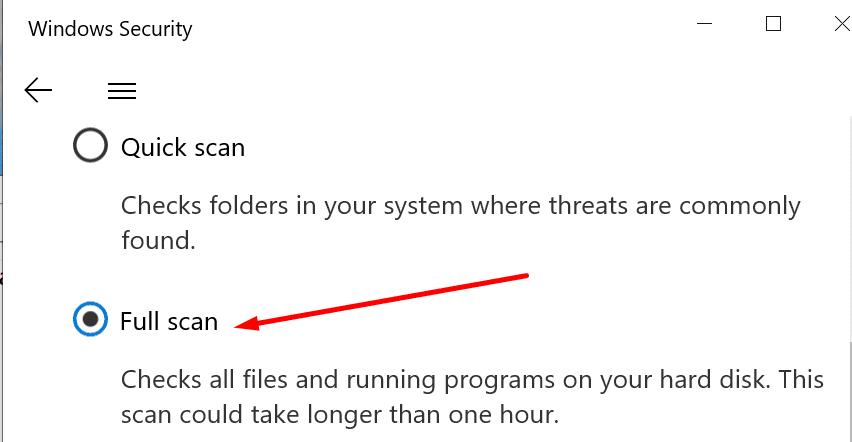 windows security full scan
