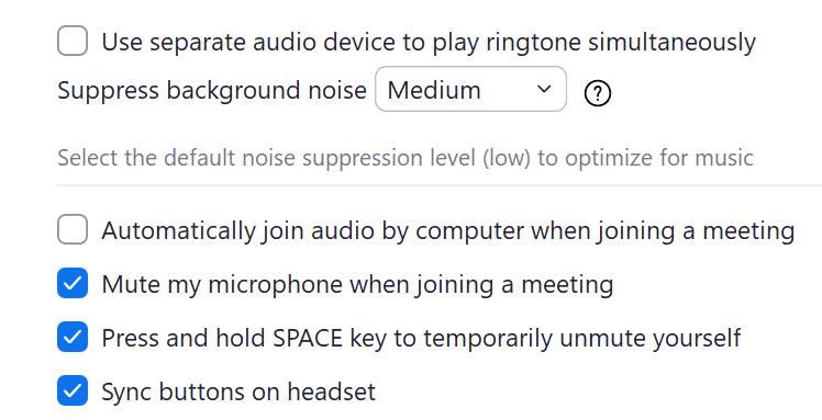 best zoom audio settings