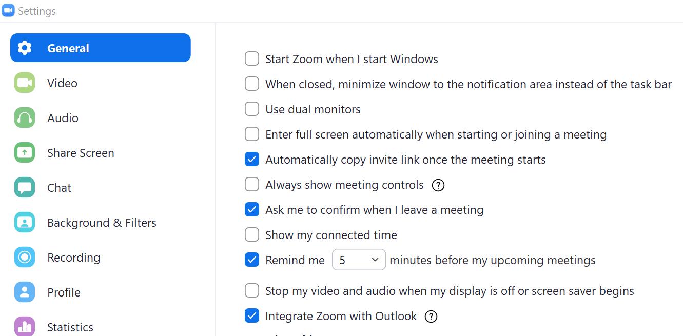 zoom general settings