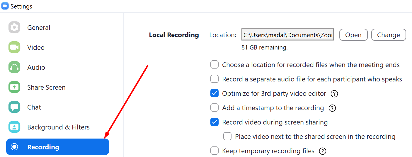 zoom recording settings