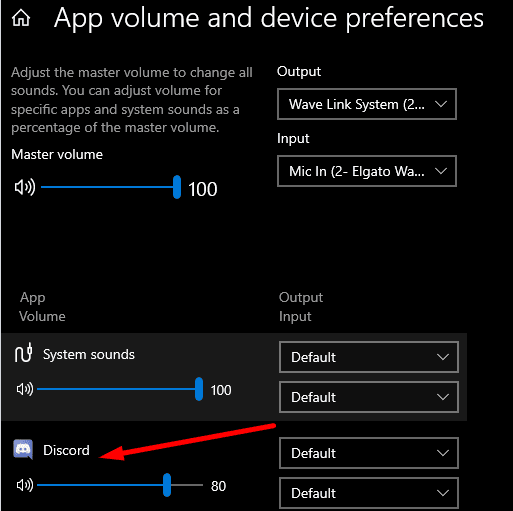 App volume and device preferences discord