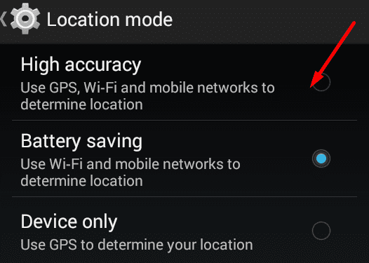 High accuracy mode android