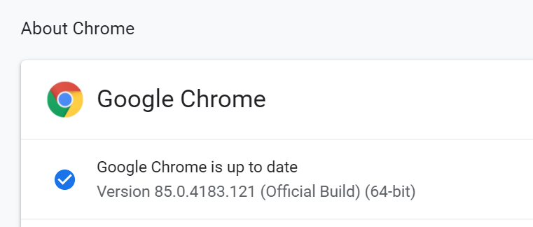about chrome browser version