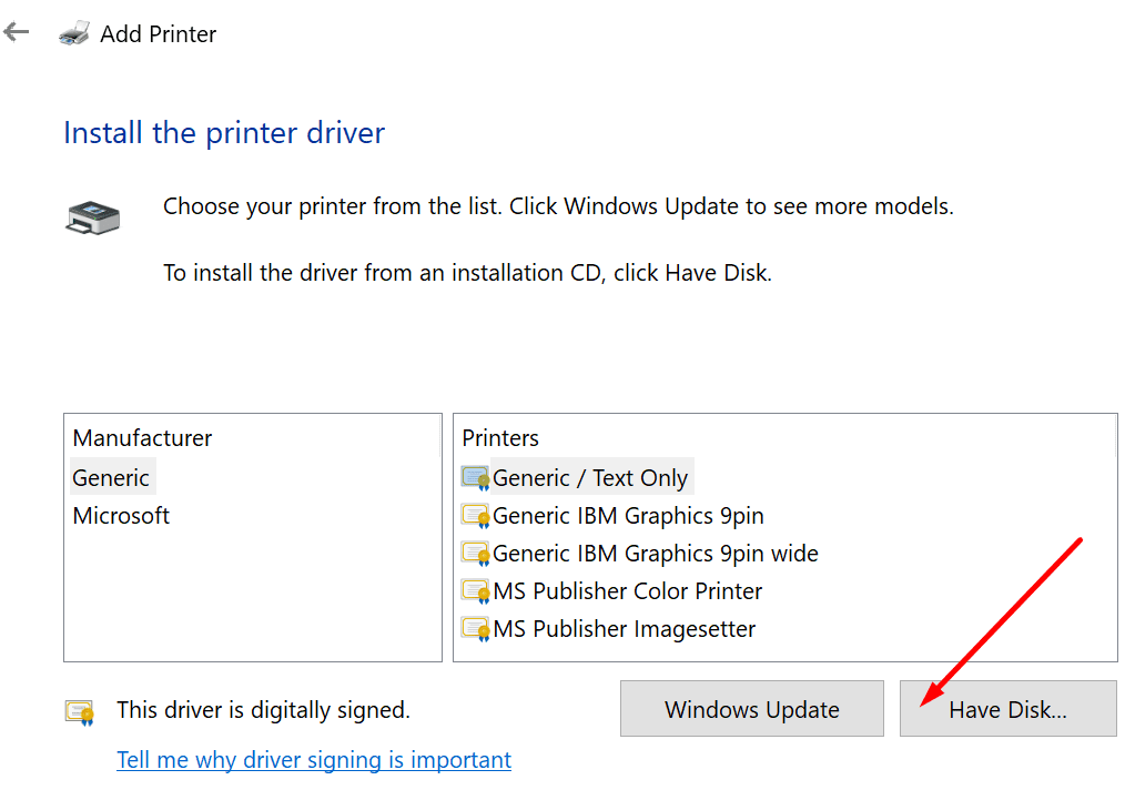 add printer have disk
