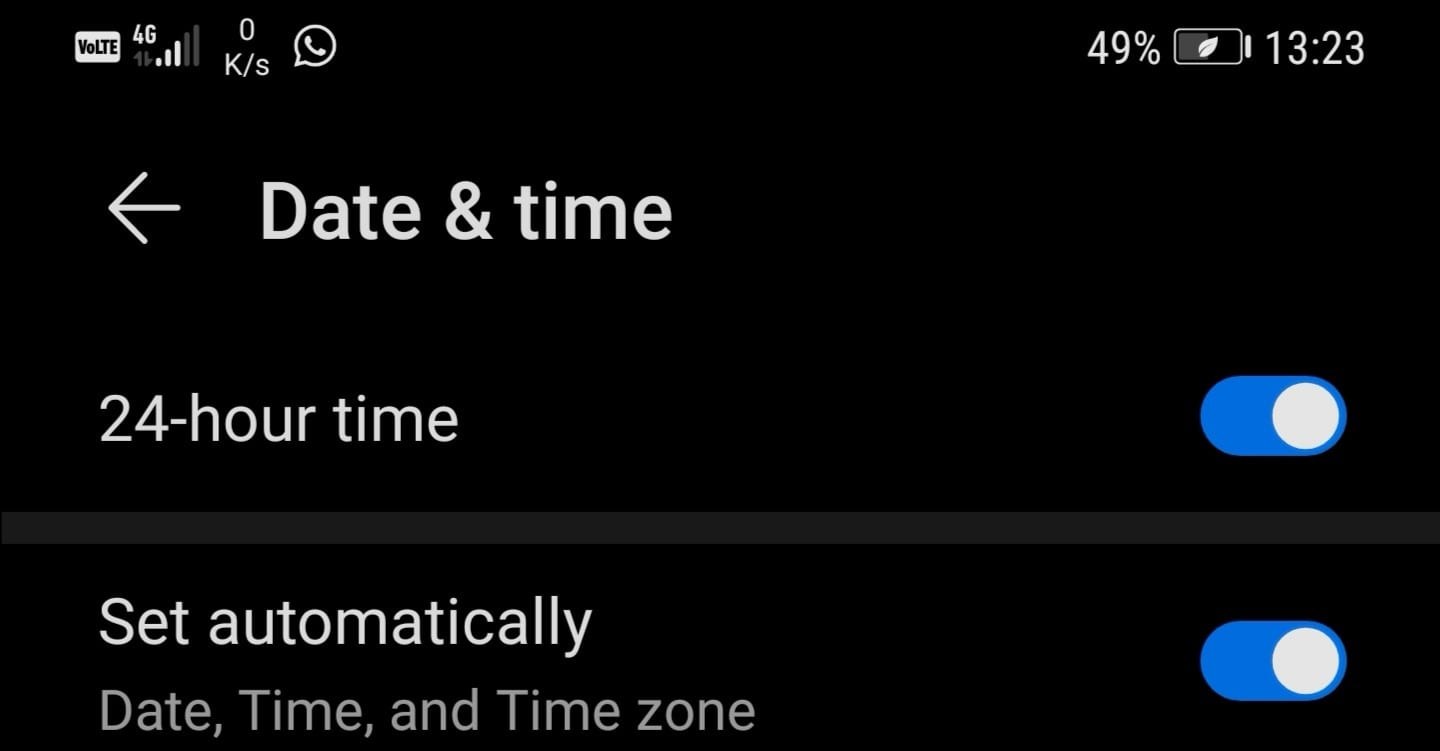 android date time settings