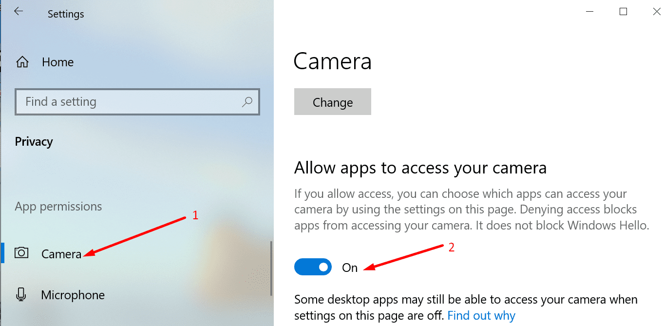 camera app permissions windows 10