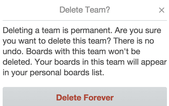 delete team trello
