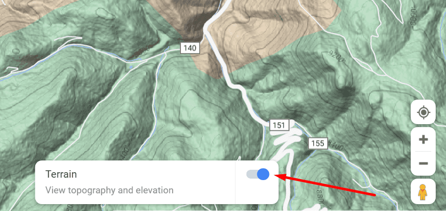 google maps view topography and elevation