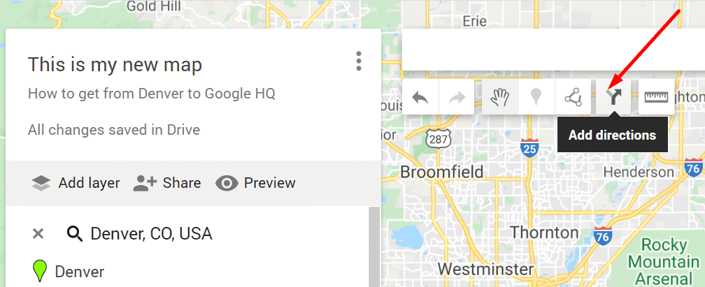 google my maps add directions