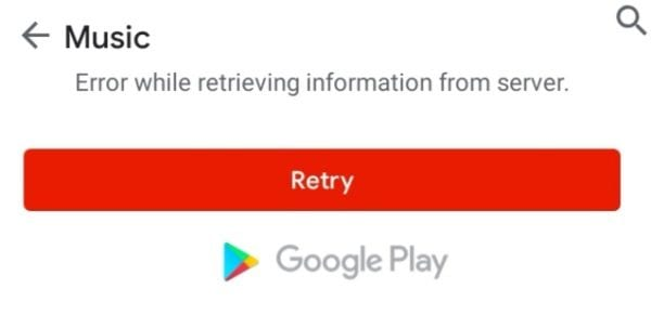 google play music error retrieving information from server
