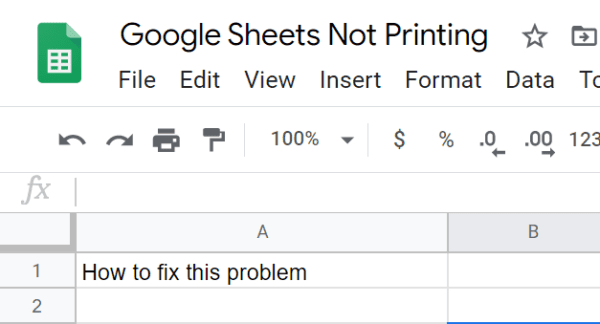 troubleshoot google sheets not printing