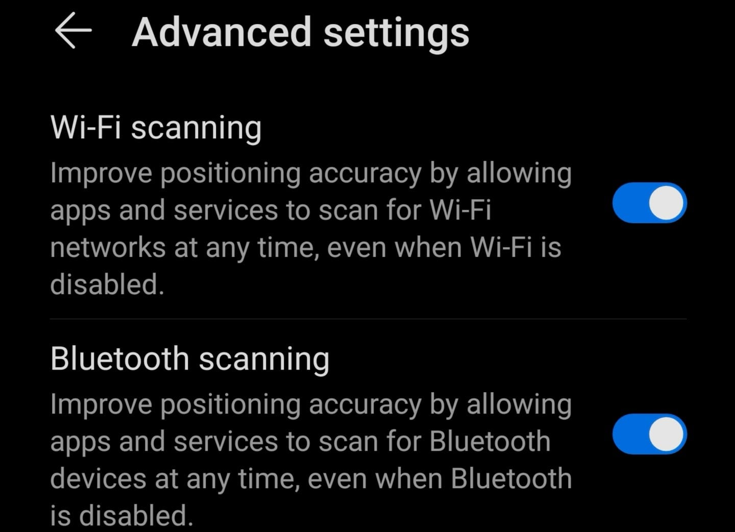 location advanced settings android