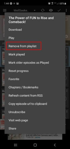remove from playlist