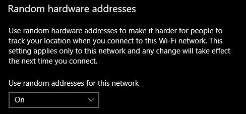 random hardware addresses wi-fi settings
