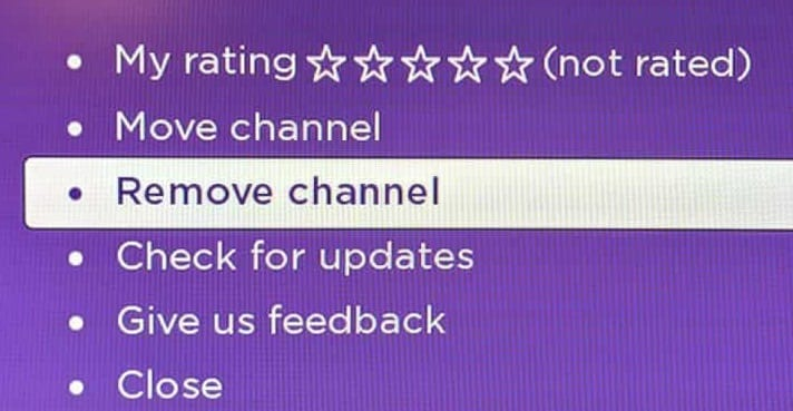 roku remove channel