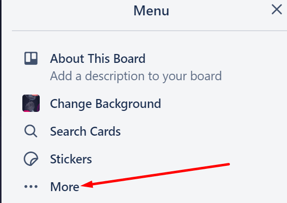 trello board menu more options