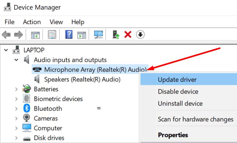 update microphone driver windows 10