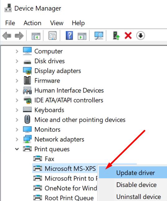 update microsoft xps printer drivers