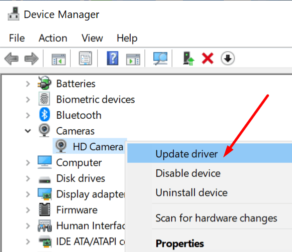 update webcam driver windows 10