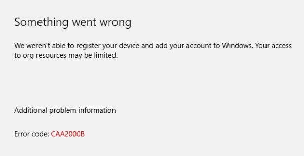 Microsoft Teams Error caa2000b