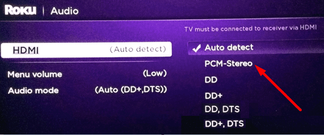 PCM-Stereo settings roku