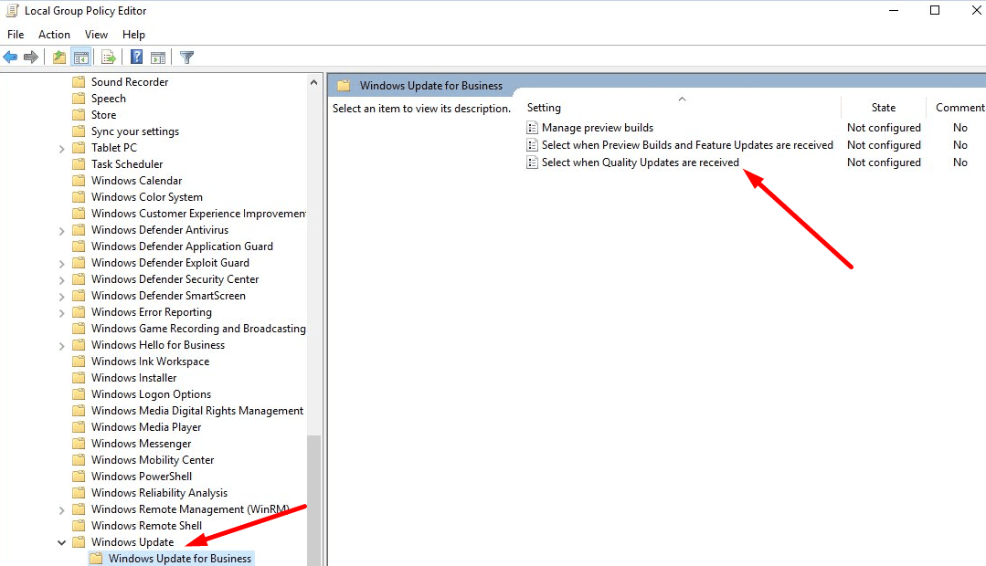 Select When Quality Updates Are Received windows 10 gpedit