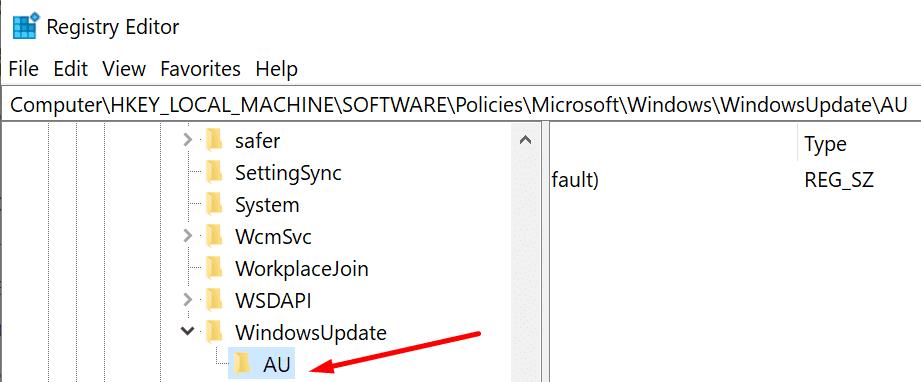 WindowsUpdate key registry editor