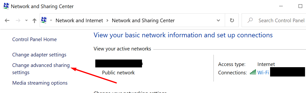 change advanced sharing settings