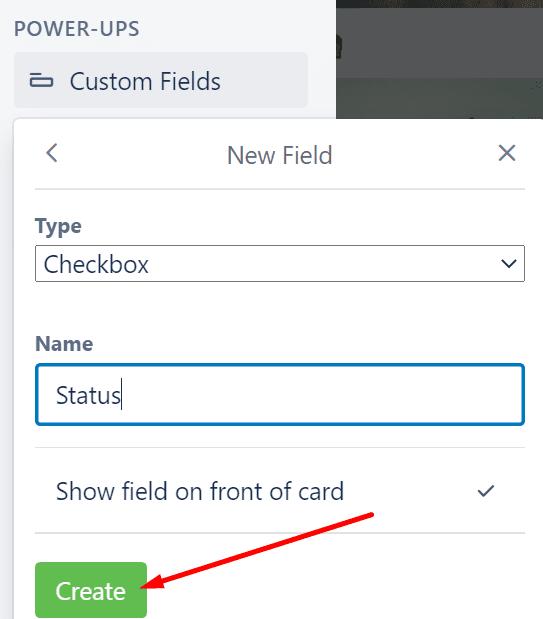 create new field custom fields trello