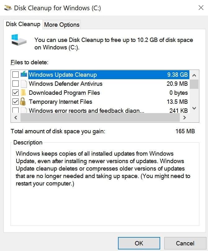 ruang disk kosong pembersihan disk