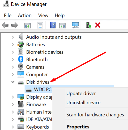 disk drives device manager