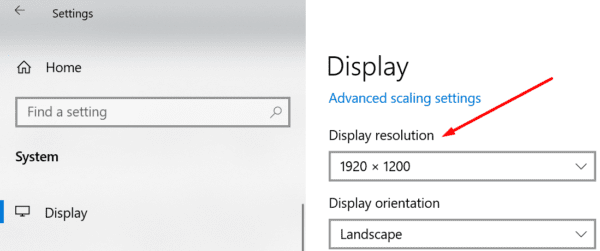 change display resolution windows 10